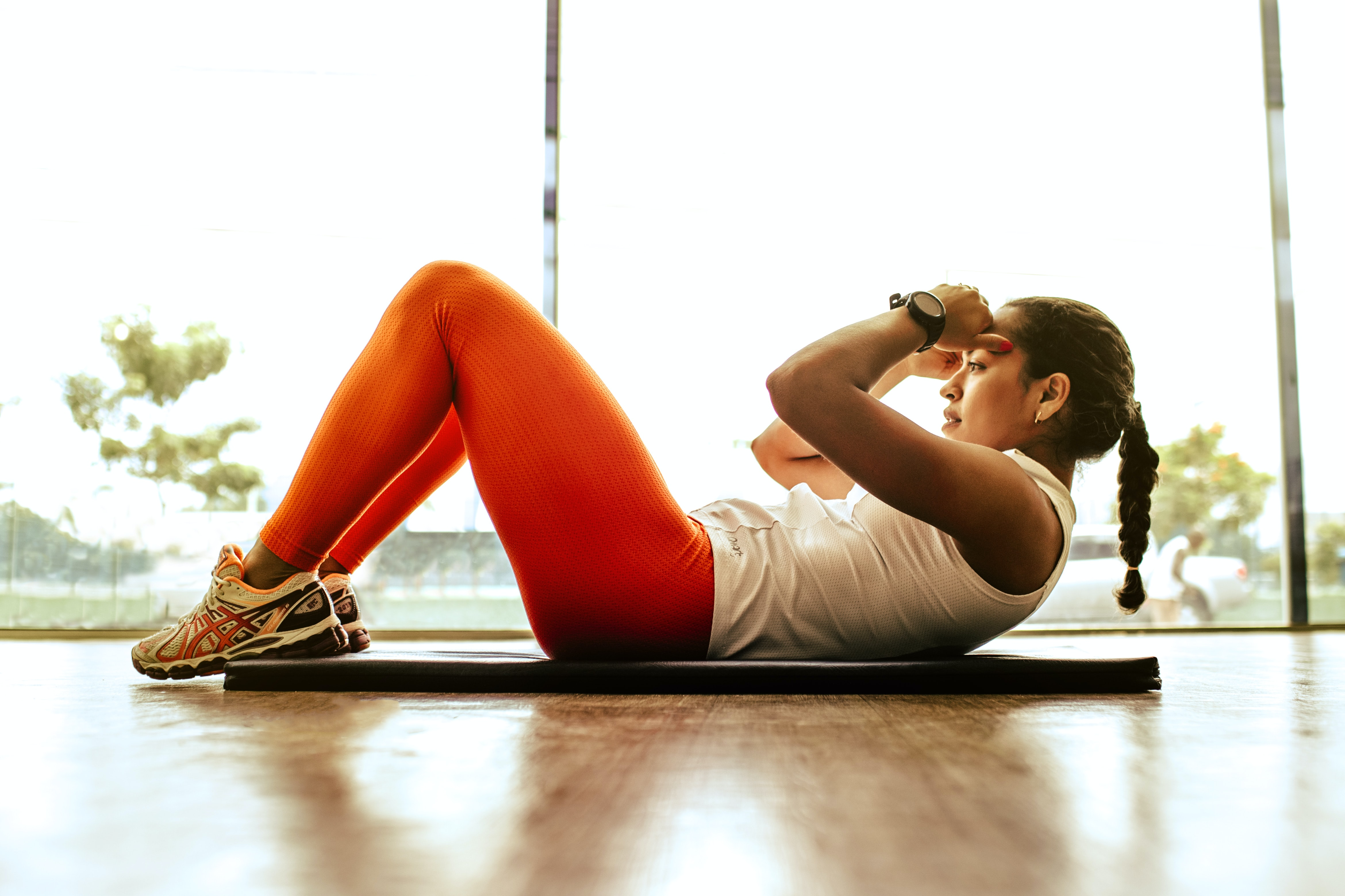 woman doing healthy exercises
